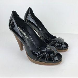 VIA SPIGA Leather Peep Toe Stiletto Heel shoe 6
